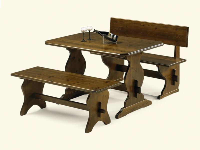 Tavolo in legno di pino stile rustico per pizzeria for Tavolo rustico legno
