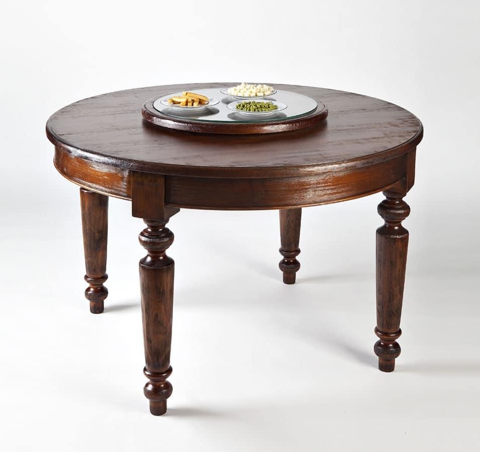 Tavolo rotondo in legno con piano girevole idfdesign - Tavolo rotondo in legno ...