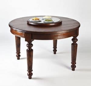 Art. 593, Tavolo rotondo in legno, con piano girevole