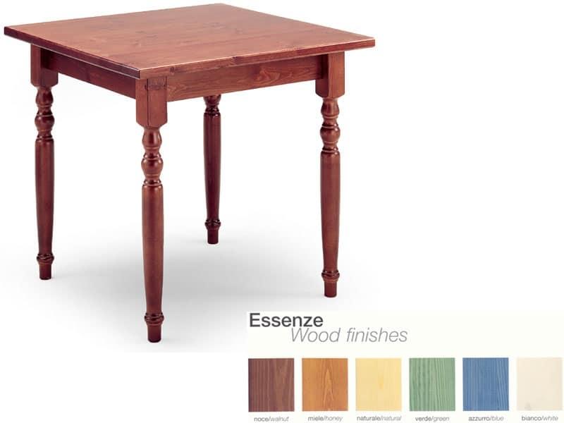 Tavolo quadrato in arte povera, in legno, per enoteche | IDFdesign