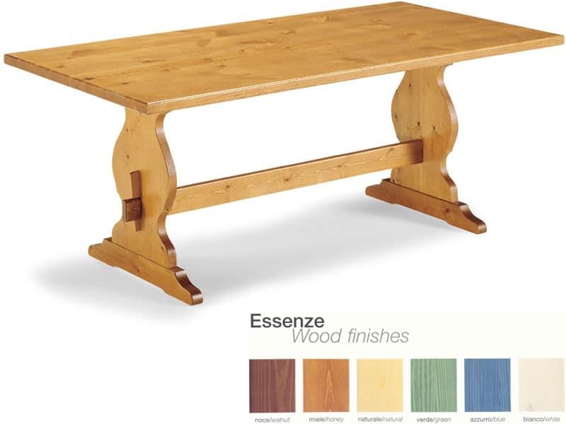 T/204, Tavolo rustico in legno con poggiapiedi, per pub