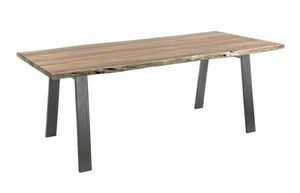 Tavolo Aron 200X95, Tavolo con piano in legno dai bordi irregolari