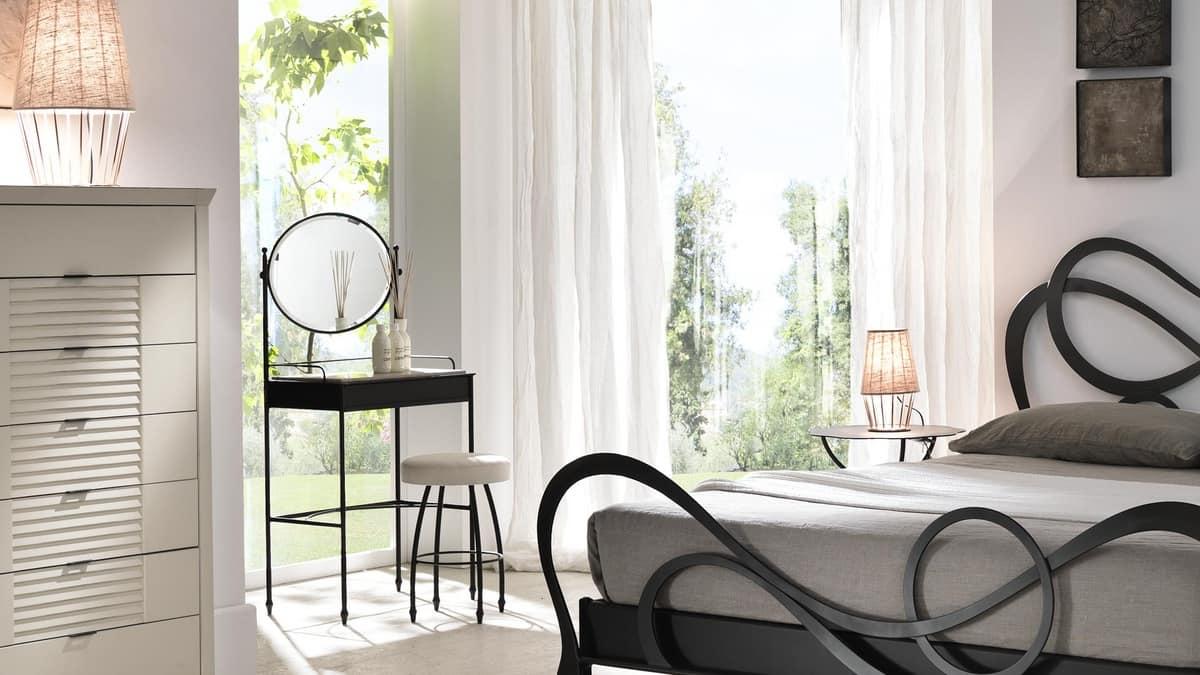 Pettiniera in ferro con specchio piano in marmo bianco idfdesign - Toletta con specchio ...