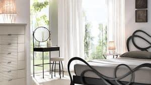 Aladino toeletta, Pettiniera in ferro con specchio, piano in marmo bianco