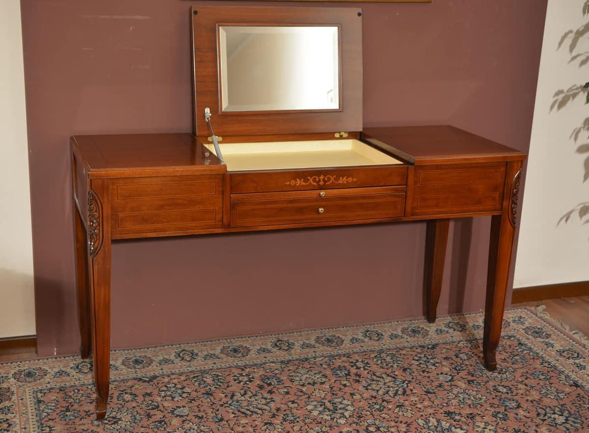 Beauty tavolo, Pettiniera in legno massiccio, con vano portaoggetti