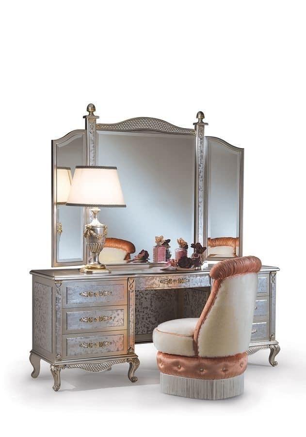 Toilettes con specchio, stile classico, legno finitura avorio ...