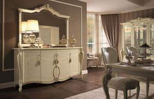 Tiziano buffet, Credenza 4 ante, finiture foglia oro, per soggiorno in stile classico