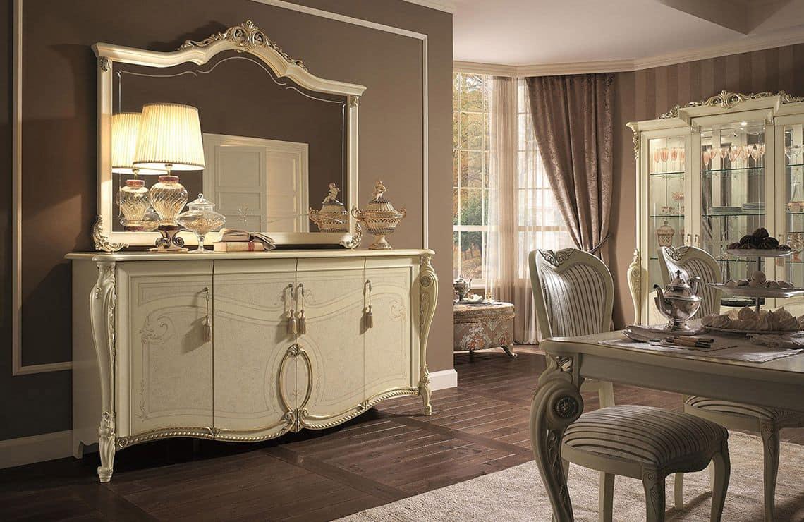 Credenza 4 ante finiture foglia oro per soggiorno in stile