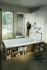 Book, Vasca da bagno con libreria incastonato nelle pareti