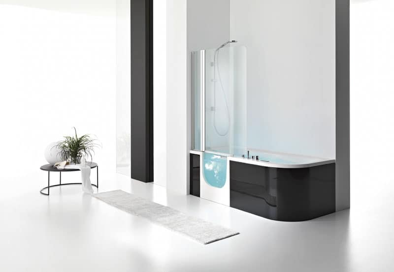 Vasca moderna con porta di accesso in cristallo idfdesign - Vasche da bagno moderne ...