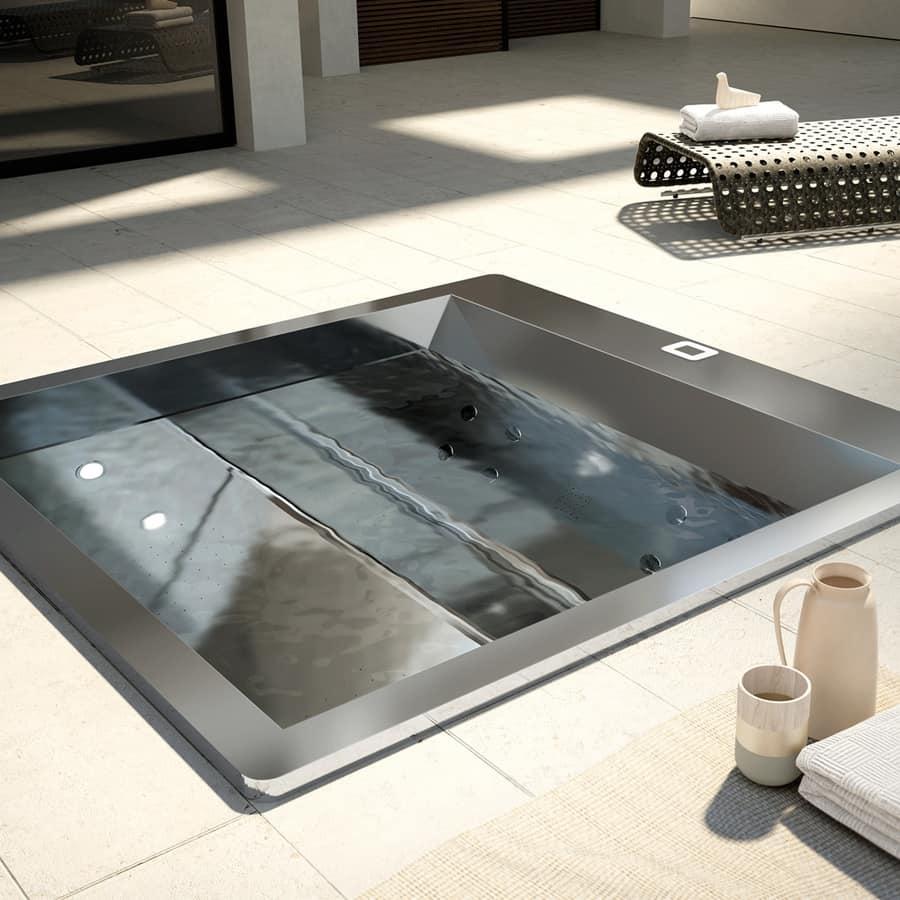 Vasca idromassaggio a incasso in acciaio inox idfdesign - Vasche da bagno ad incasso ...