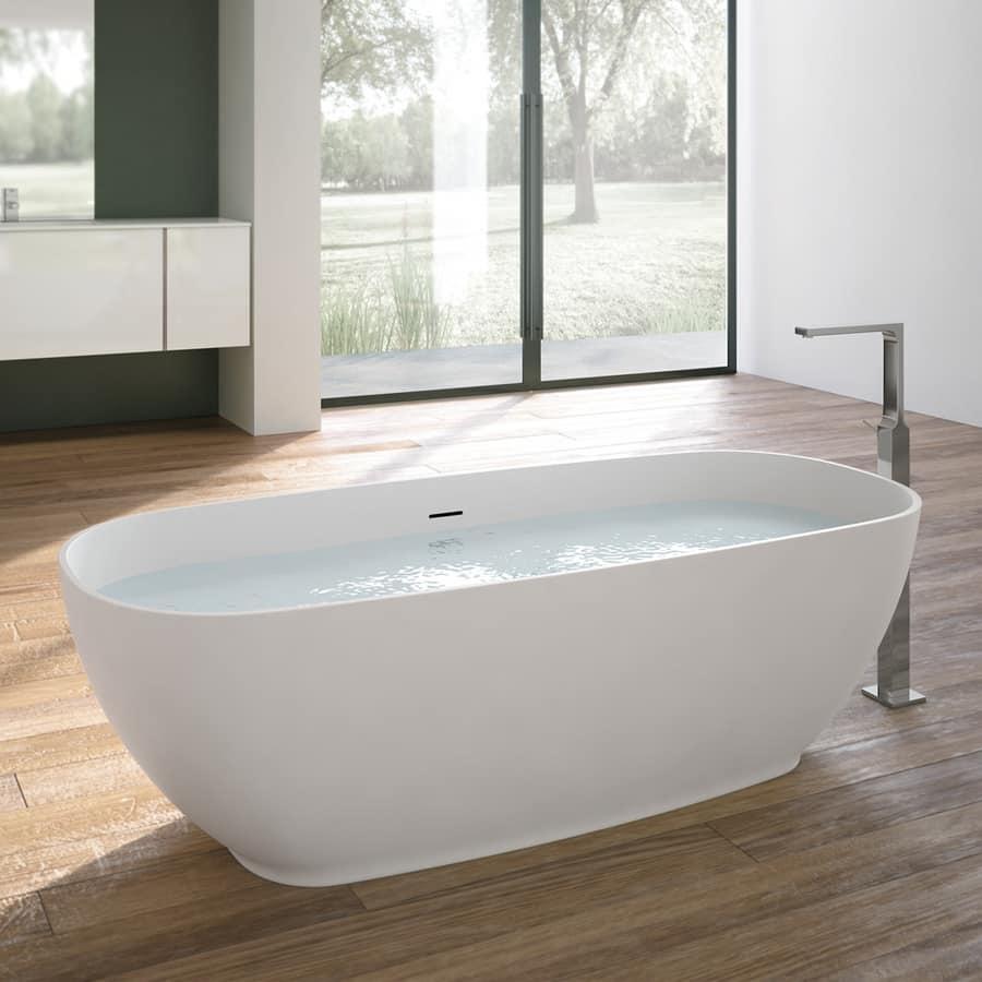 Vasca da bagno ovale con rubinetto cromo idfdesign - Vasca da bagno ovale ...