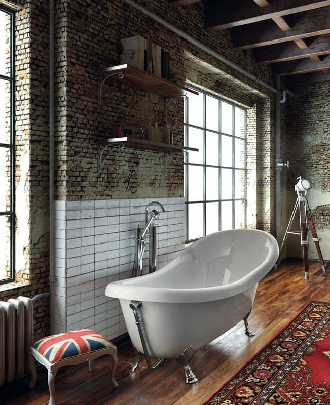 Vasca freestanding con piedini cromati per centro stanza idfdesign - Vasche da bagno centro stanza ...