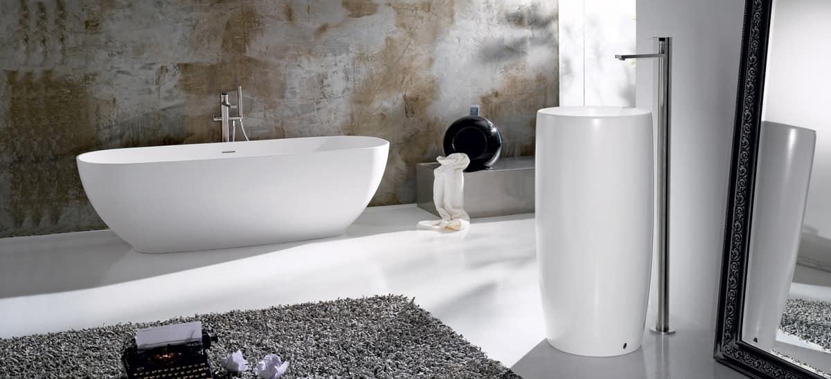 Vasca da bagno ovale in ceramica idfdesign - Vasche da bagno in ceramica ...