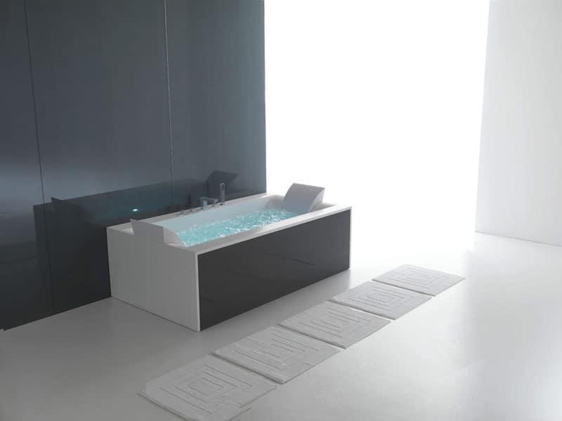 vasca rettangolare scala : ... - 180x80, Vasca moderna rettangolare, con miscelatore, per terme