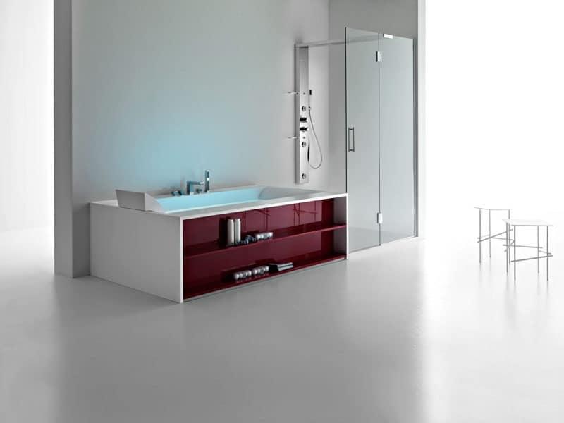 Vasca da bagno moderna con mensole per camera d 39 albergo - Vasche da bagno design ...