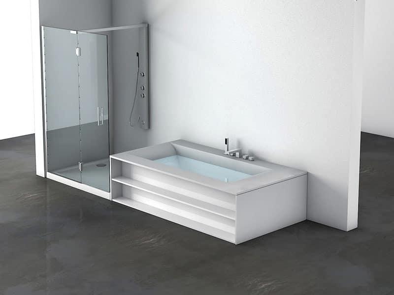 Vasca da bagno e box doccia comunicanti per terme idfdesign - Vasche da bagno con box doccia incorporato ...