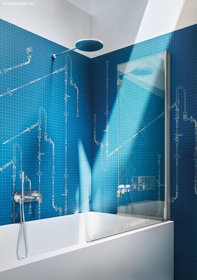 Parete doccia per vasca da bagno con apertura pieghevole idfdesign - Parete per vasca da bagno ...