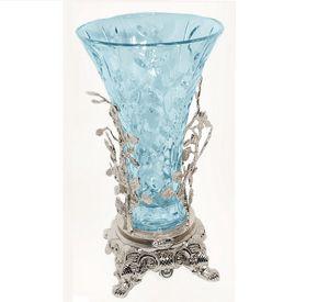 3009, Vaso in vetro azzurro ed ottone finitura argento