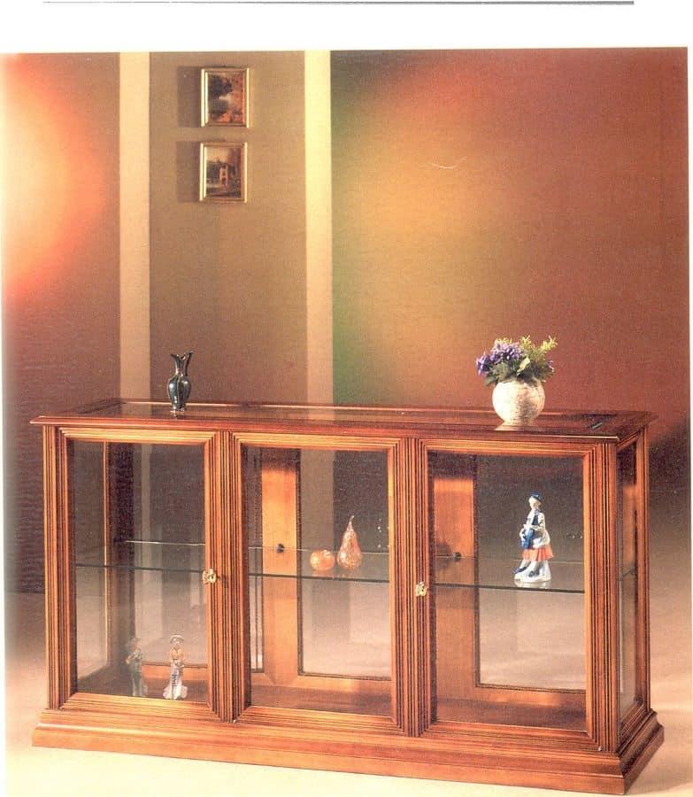 2060 VETRINA, Vetrina orizzontale in legno e vetro, in stile classico