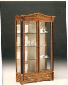 2480 VETRINA, Vetrina in legno con 2 ante in vetro, stile classico