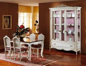 3310 VETRINA, Vetrina in legno laccato bianco, stile classico di lusso