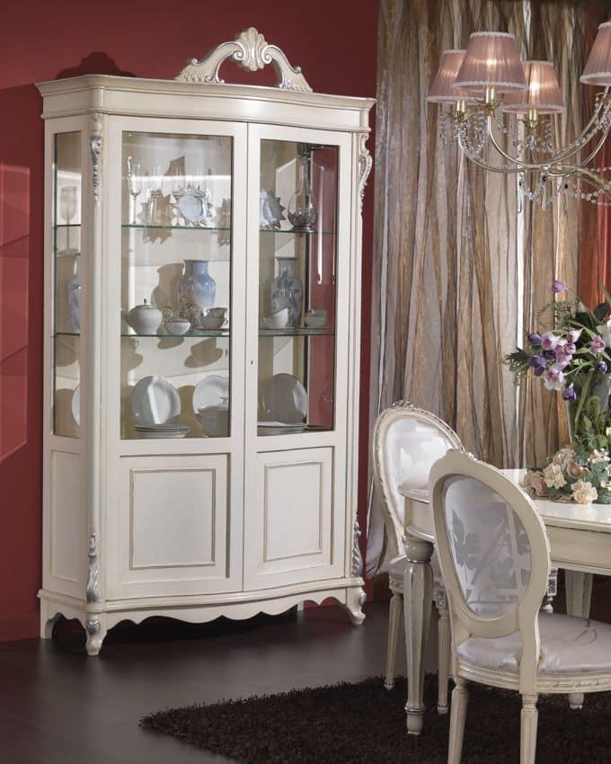 Vetrina impiallicciata con 2 porte e ripiani in vetro for Case di vetro di lusso