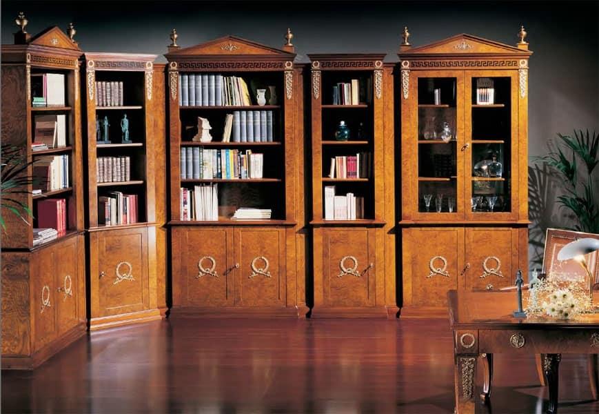 Libreria Classica Di Lusso Porte Con Vetro Varie Misure Idfdesign