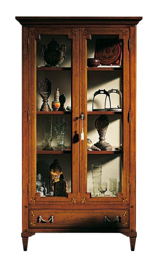 Vetrina in noce con 2 porte per ambienti classici idfdesign - Mobili vetrinette ...