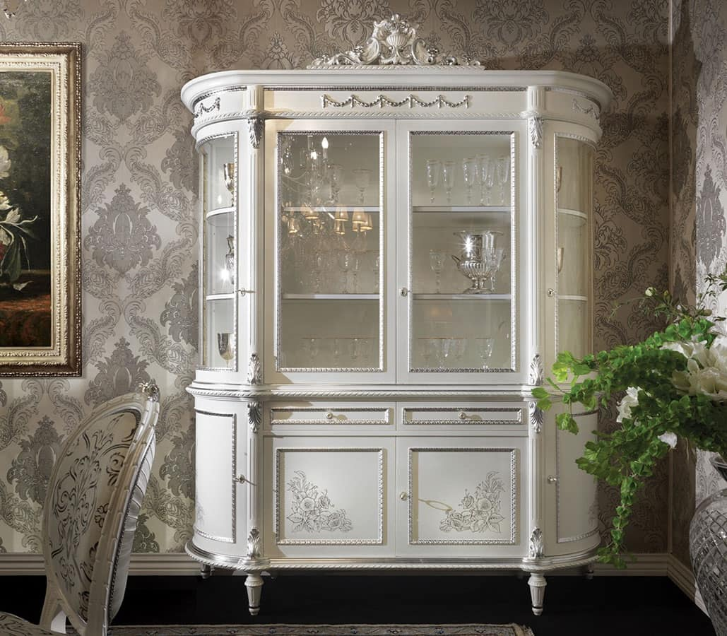 angoliera vetrina laccata stile veneziano : 3310 Vetrina Vetrina Classica Di Lusso Laccata Bianca Adatta Per Sala ...