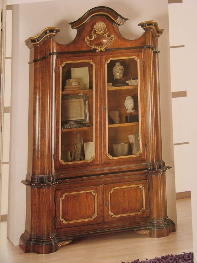 Art. 896, Vetrina classica di lusso, in noce, per sala da pranzo