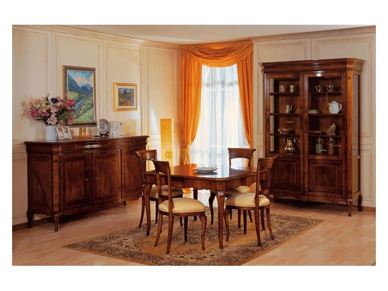 Credenza Con Vetrina Fine 800 : Credenza classica di lusso in legno intagliato per salotto