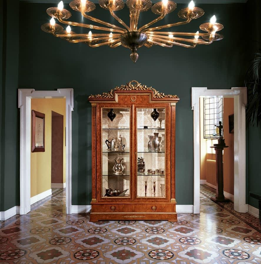 Art. 918, Vetrina con 2 ante in vetro per salotto, stile classico