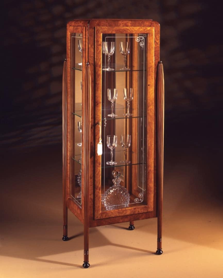 Art Déco Art.537 vetrina 1 anta, Vetrina in frassino e zebrano, con 1 porta