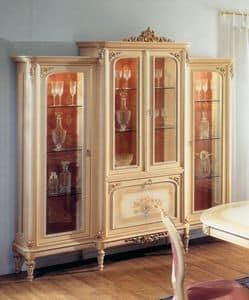 Art. L-788, Vetrina in legno laccato con 4 porte e 1 ribalta centrale, per ambienti in stile classico