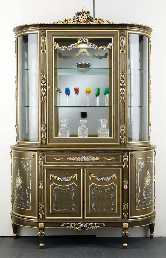Vetrina in legno, con 5 porte e 1 cassetto, decorazioni floreali, in stile cl...