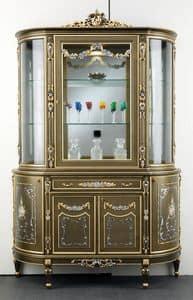 Art. L-920 K, Vetrina in legno, con 5 porte e 1 cassetto, decorazioni floreali, in stile classico