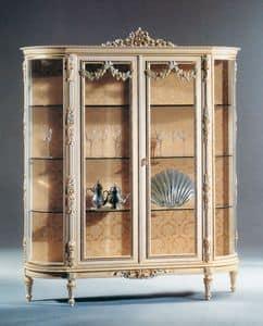 Art. L-925, Vetrina in legno laccato bianco, 2 porte e ripiani in cristallo, in stile classico di lusso