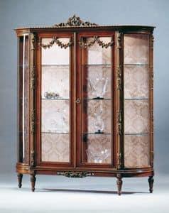 Art. L-925 N, Vetrina in legno in tinta noce, 2 porte e ripiani in cristallo, per salotti in stile classico
