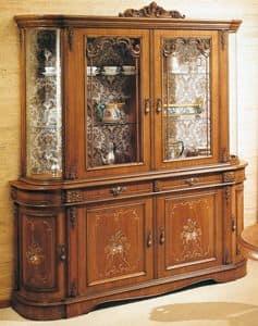Art. S-809 bis, Vetrina in legno con 6 porte e 2 cassetti, decorazioni floreali, in stile classico