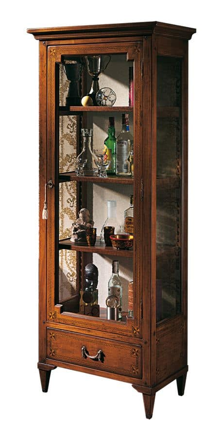 Bourges VS.6528, Vetrina in noce, con 1 porta e 1 cassetto, intarsi geometrici, schiena in tessuto, ripiani in legno, per ambienti in stile classico di lusso