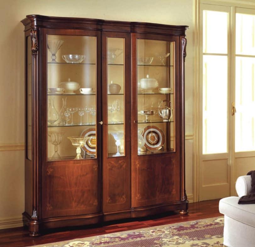 Canova vetrina, Vetrina classica con ante laterali con cristalli curvi