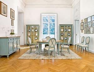 CIGNO Art. 1207, Vetrina laccata, stile classico di lusso, per sala da pranzo