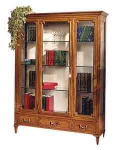 Cognac VS.6531.A, Vetrina in noce, con 1 porta centrale, 3 cassetti, schiena in tessuto, ripiani in cristallo, per ambienti in stile classico di lusso