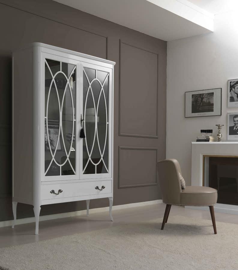 Vetrina in frassino e vetro temperato con un cassetto for Galimberti case legno
