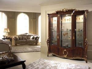 Donatello vetrina 3 ante, Vetrina con eleganti decorazioni, dal classico gusto italiano, per sale da pranzo