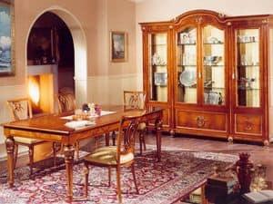 DUCALE DUCSO4PB / Soggiorno a 4 ante, Vetrina in frassino e vetro, stile classico di lusso