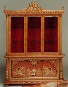 F500 Vetrina, Vetrina in stile classico, legno intarsiato a mano