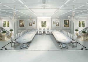 F504 Sala da Pranzo Art Deco, Grande tavolo classico di lusso, in stile art Dec�