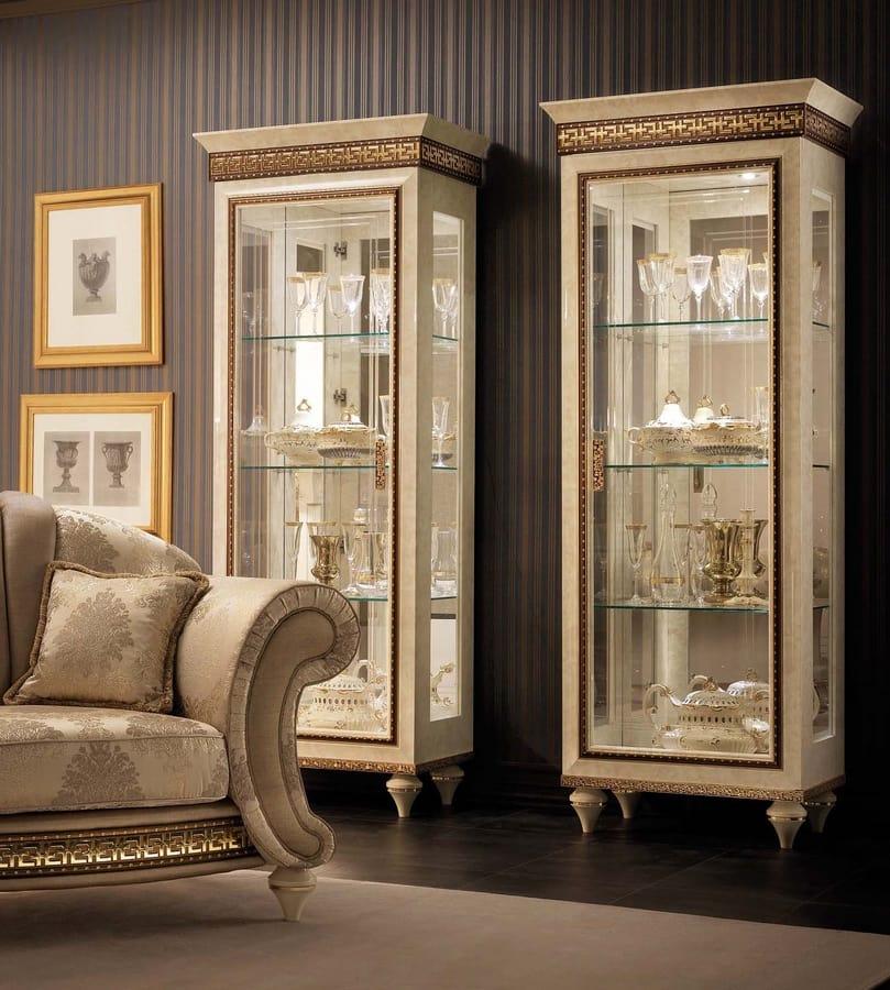 Fantasia vetrina 1 anta, Vetrina classica, con fondo a specchio